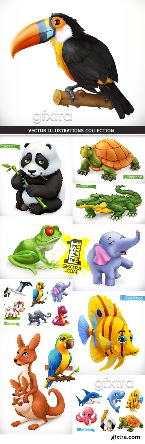 Funny sea and tropical wild animals 3d vector