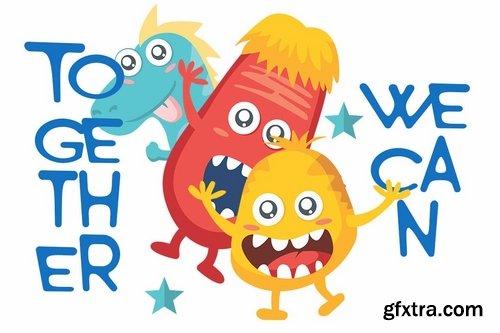 CM - Monster World font & Fun Vector Pack 3590090