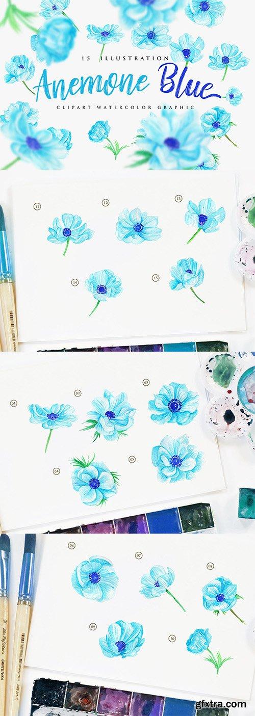 15 Watercolor Anemone Blue Flower Illustration