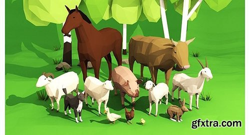 Cgtrader - Domestic animals rigged pack Low-poly 3D model