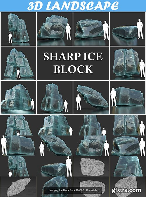 Cgtrader - Low poly Ice Block Pack 190302 3D Model Collection