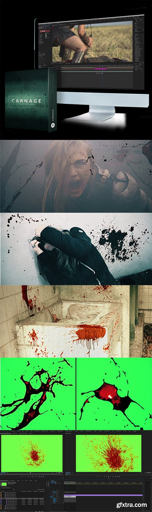 RocketStock - Carnage: 296 Blood Video Effects for Gory & Horror Scenes