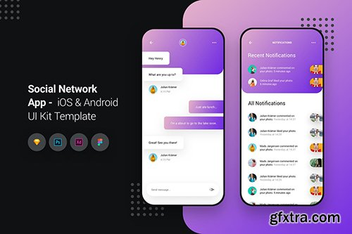 social network app ios android ui kit template gfxtra. Black Bedroom Furniture Sets. Home Design Ideas