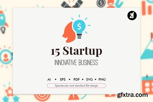 15 Startup elements in flat design