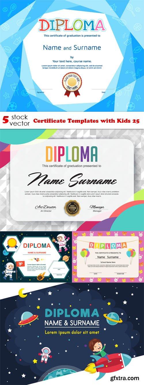 Vectors - Certificate Templates with Kids 25