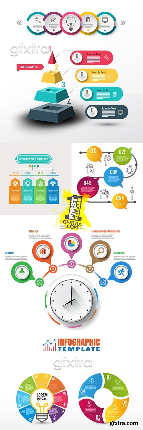 Business infographics options elements collection 43