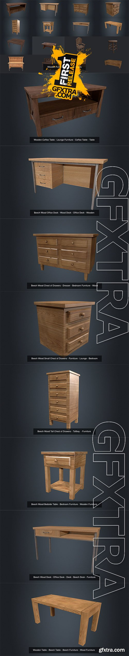 Cgtrader - Wooden Furniture Pack 3D Model Collection