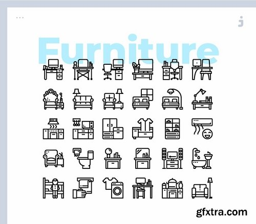 30 Furniture and Household Icons