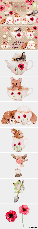 Animal Tea Set Watercolor Clip Art Illustrations 956719