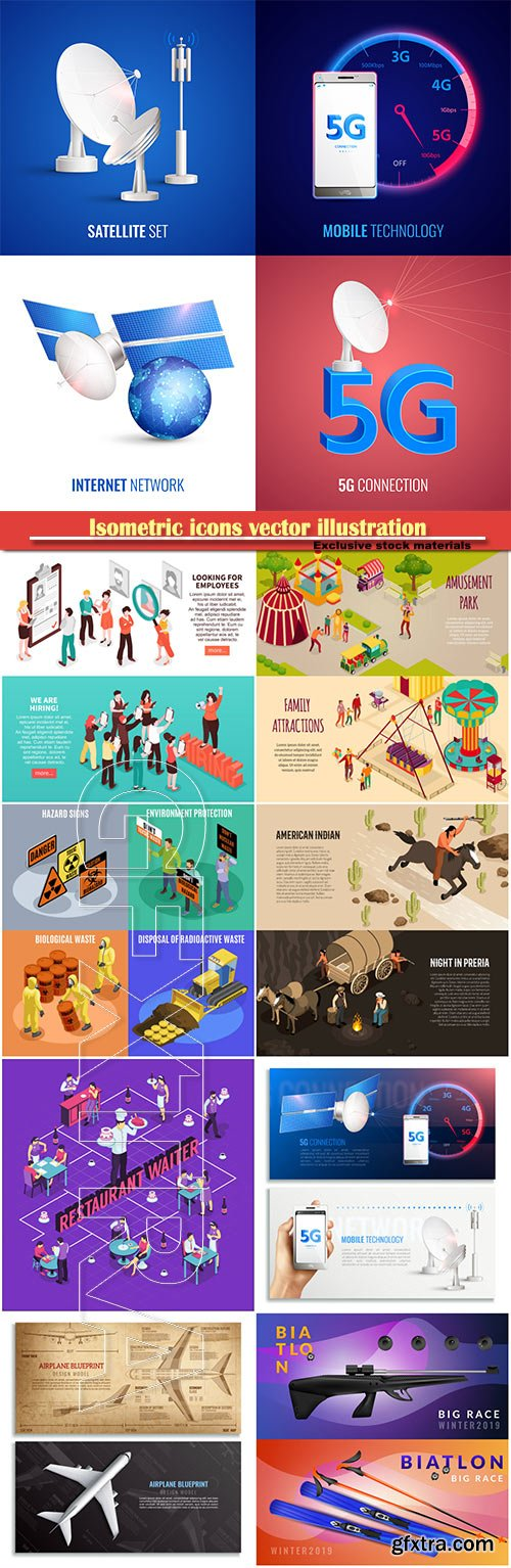 Isometric icons vector illustration, banner design template # 21