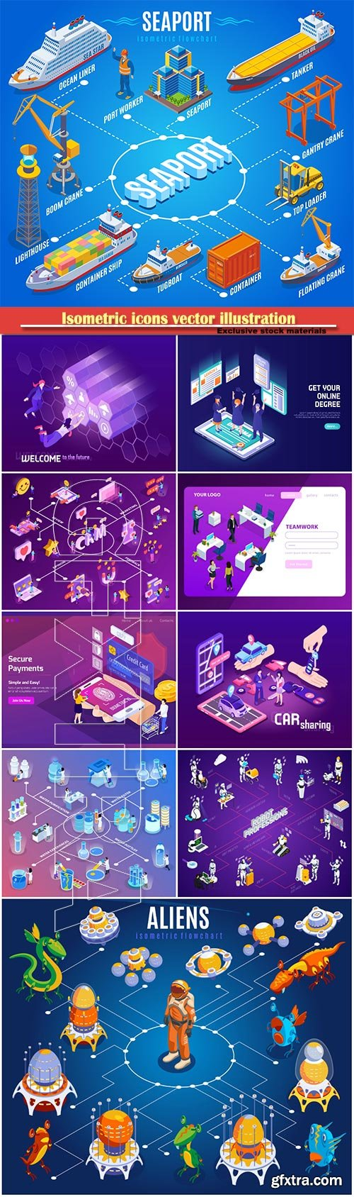 Isometric icons vector illustration, banner design template # 24