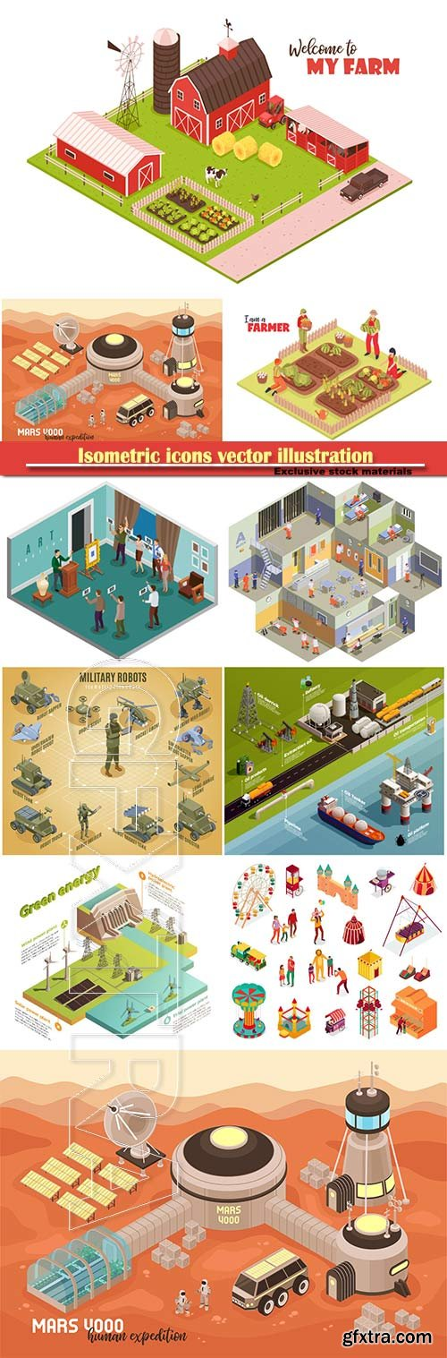Isometric icons vector illustration, banner design template # 26