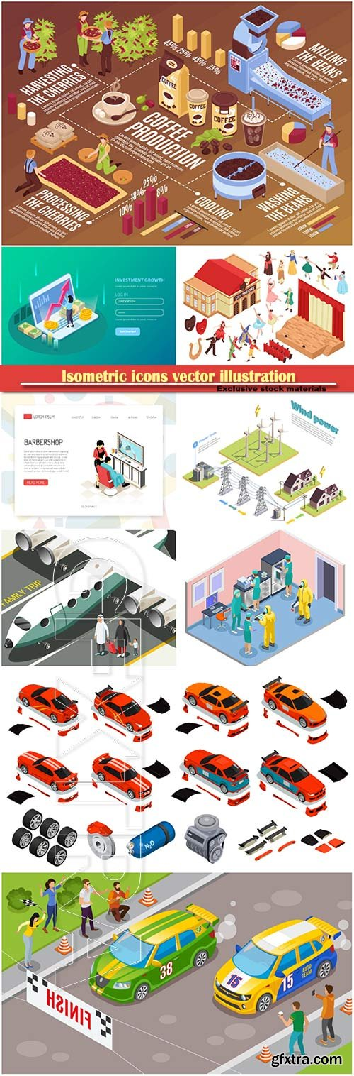 Isometric icons vector illustration, banner design template # 27
