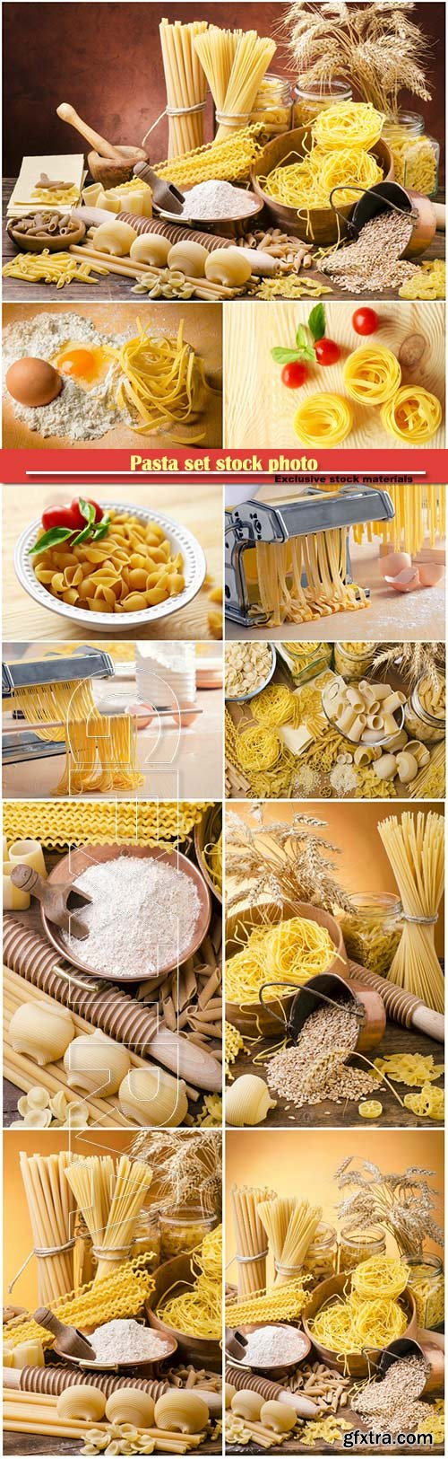 Pasta set stock photo