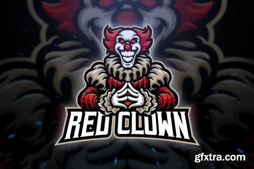 Red Clown Sport and Esport Logo Template