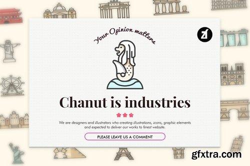 76 Famous landmarks elements in line color design