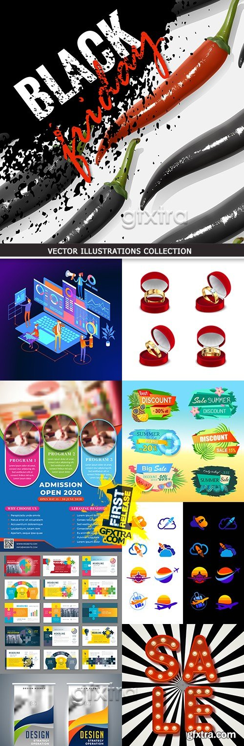 Modern vector illustrations collection different subjects 30