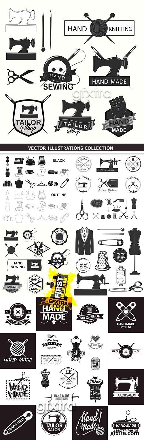 Sewing and instruments needlework tailor design emblem