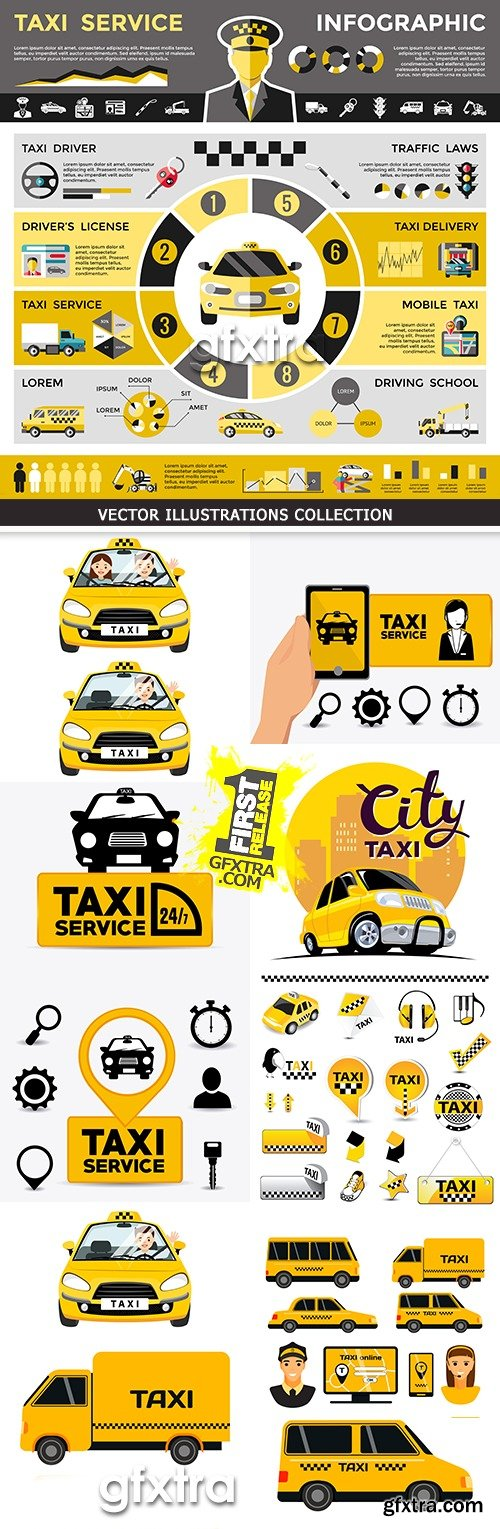 Taxi around city online service and order of car