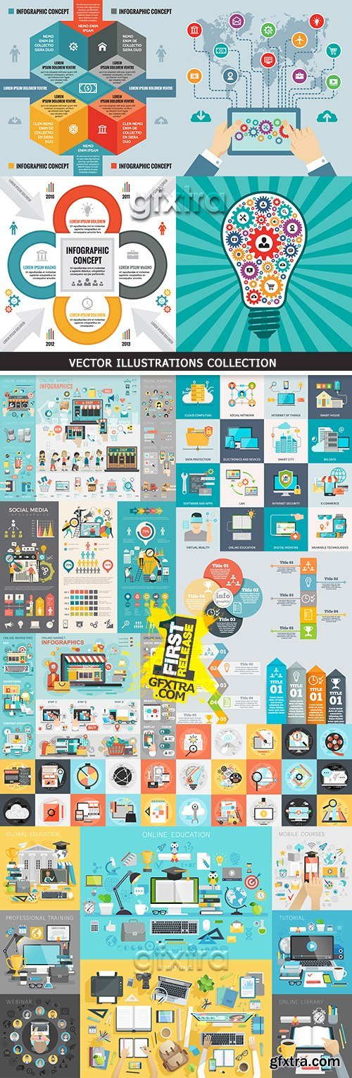 Business infographics options elements collection 44