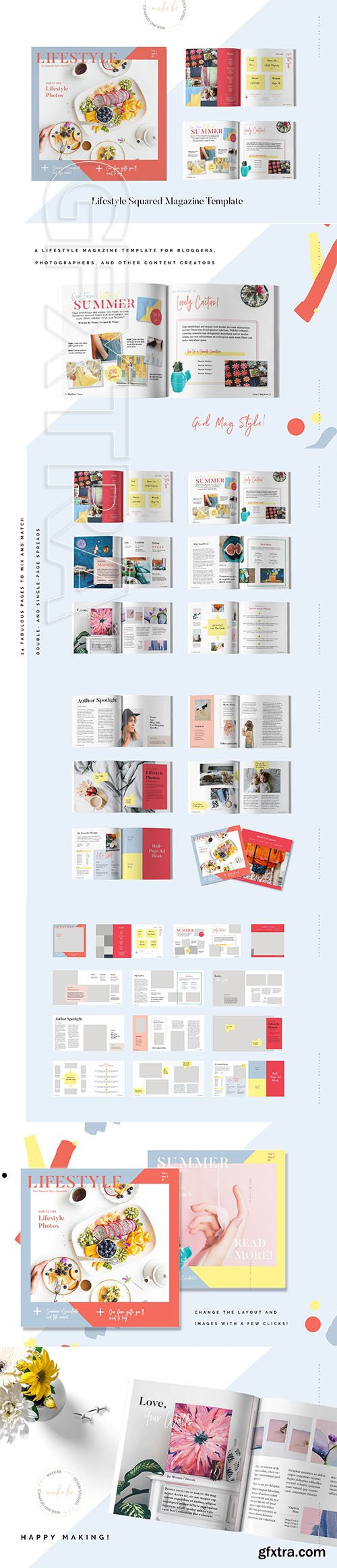 CreativeMarket - Lifestyle Squared Magazine Template 3166623