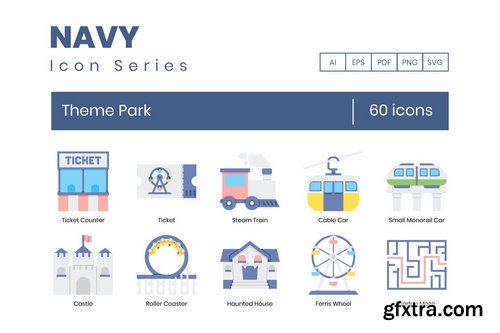 60 Theme Park Icons Navy Series