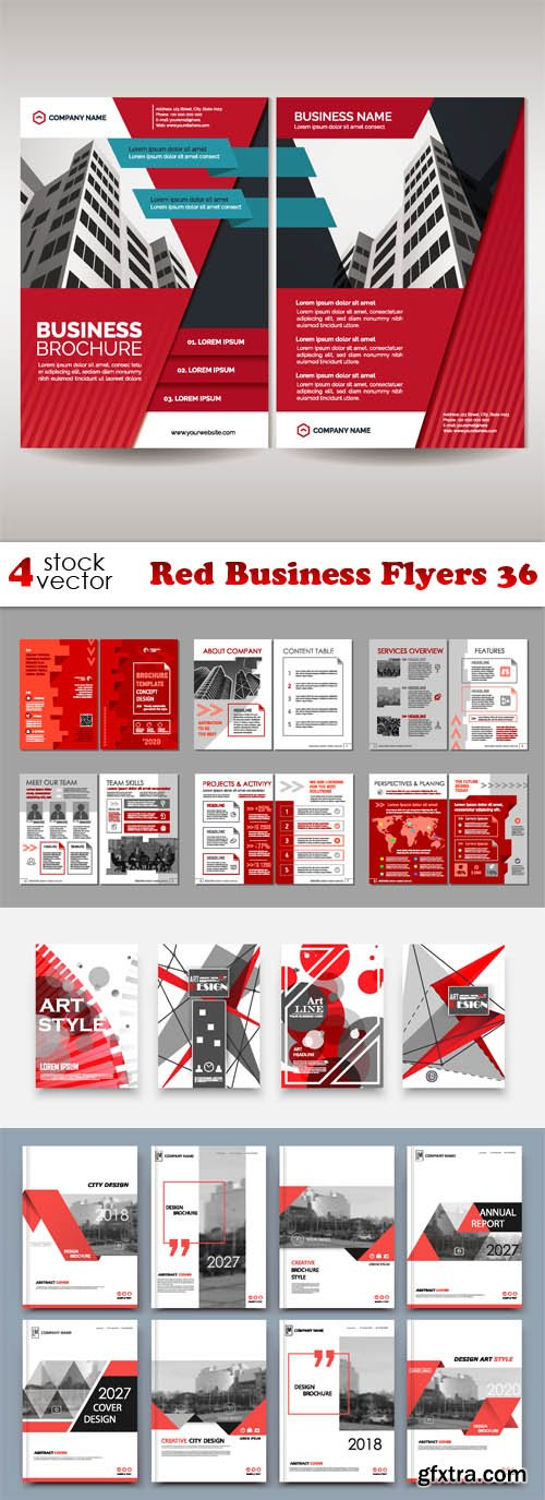 Vectors - Red Business Flyers 36