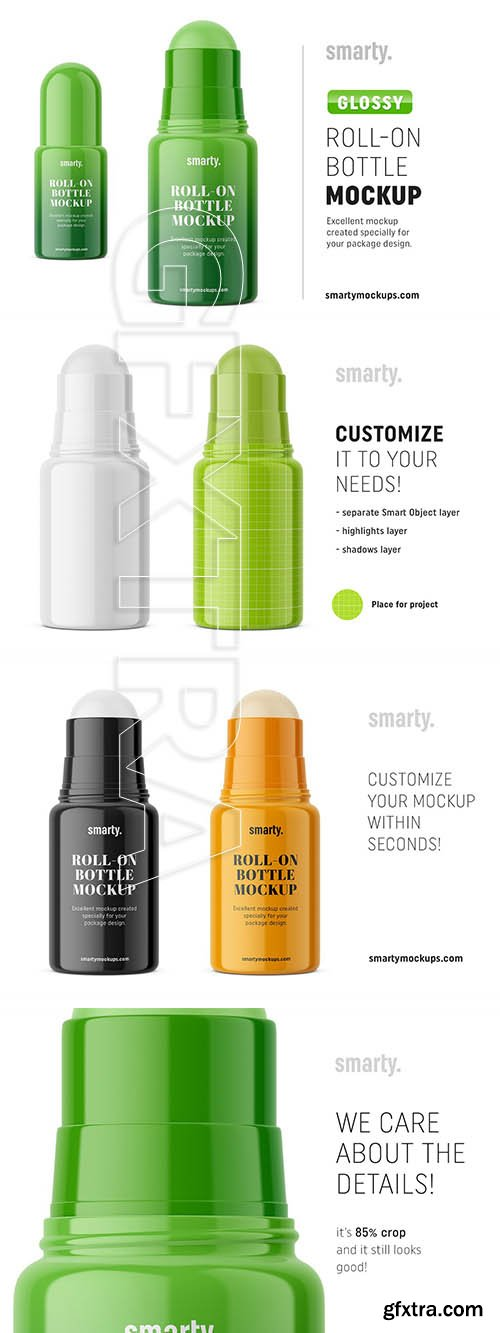 CreativeMarket - Glossy roll-on bottle mockup 3374578