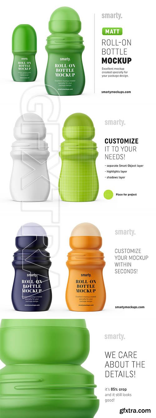 CreativeMarket - Matt roll-on bottle mockup 3374581
