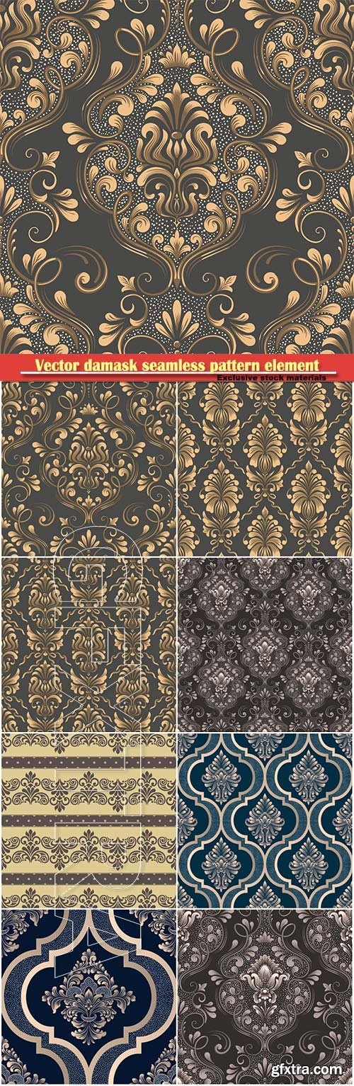 Vector damask seamless pattern element, floral baroque template