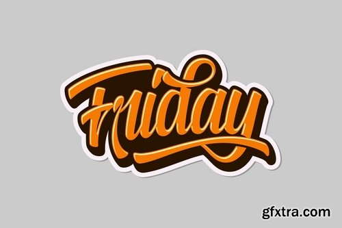 Happy Weekend Happy Easter and Friday Lettering Pack