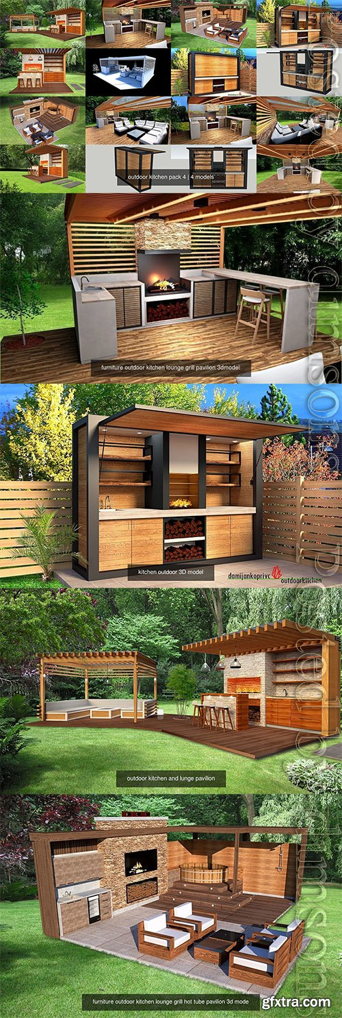 Cgtrader - outdoor kitchen pack 4 3D Model Collection
