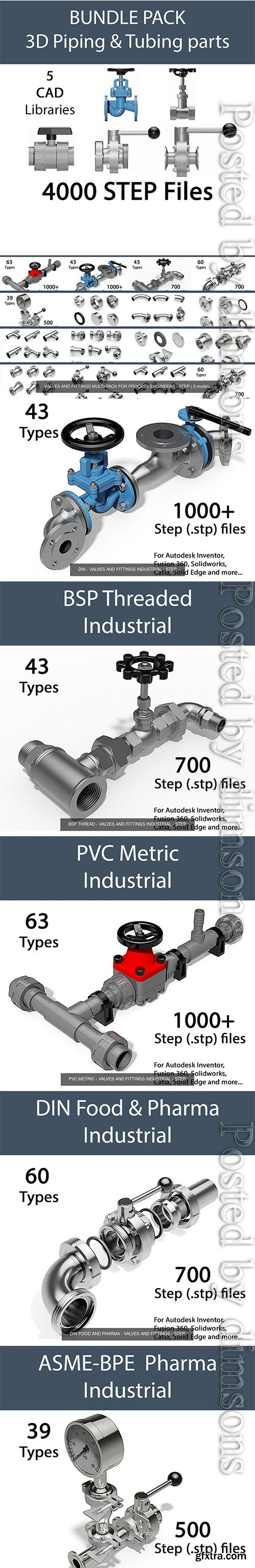 Cgtrader - VALVES AND FITTINGS MULTI-PACK FOR PROCESS ENGINEERS - STEP 3D Model Collection