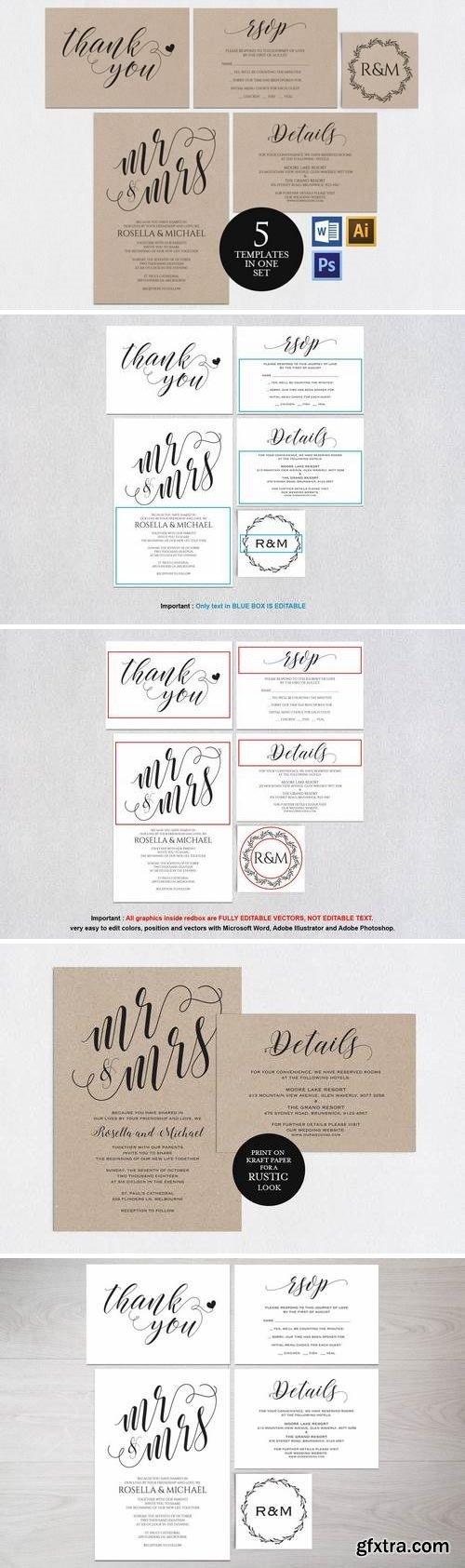 Wedding invitation set portrait v4