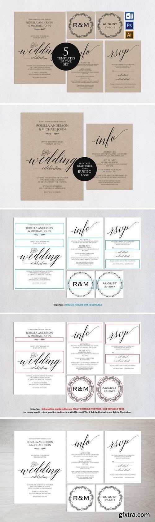 Wedding invitation set portrait v5