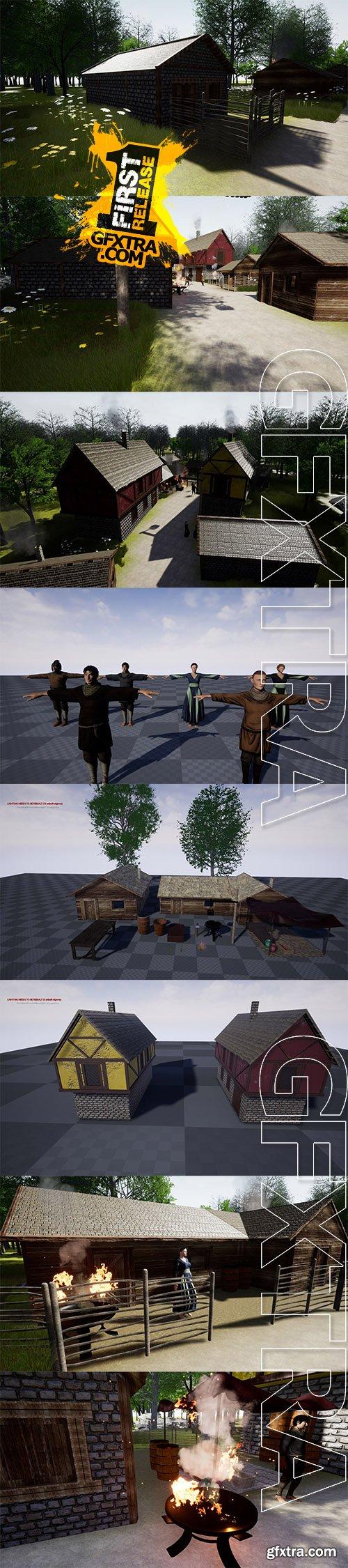 Cgtrader - Fantasy medieval Village pack Low-poly 3D model