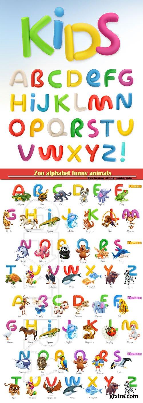 Zoo alphabet funny animals, 3d vector icons set