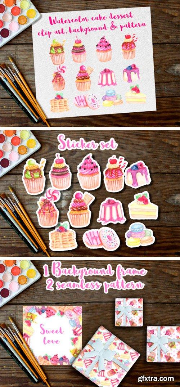 Watercolor Clip Art Dessert Cake 1001037