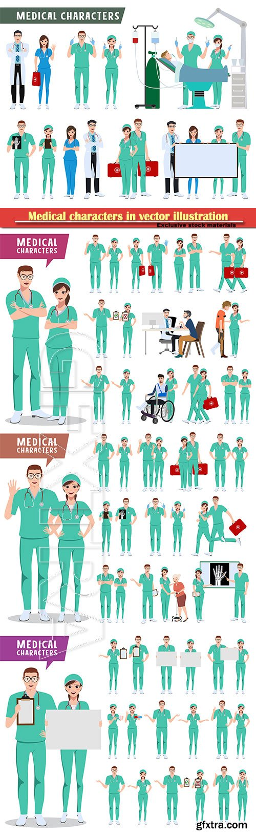Medical characters in vector illustration