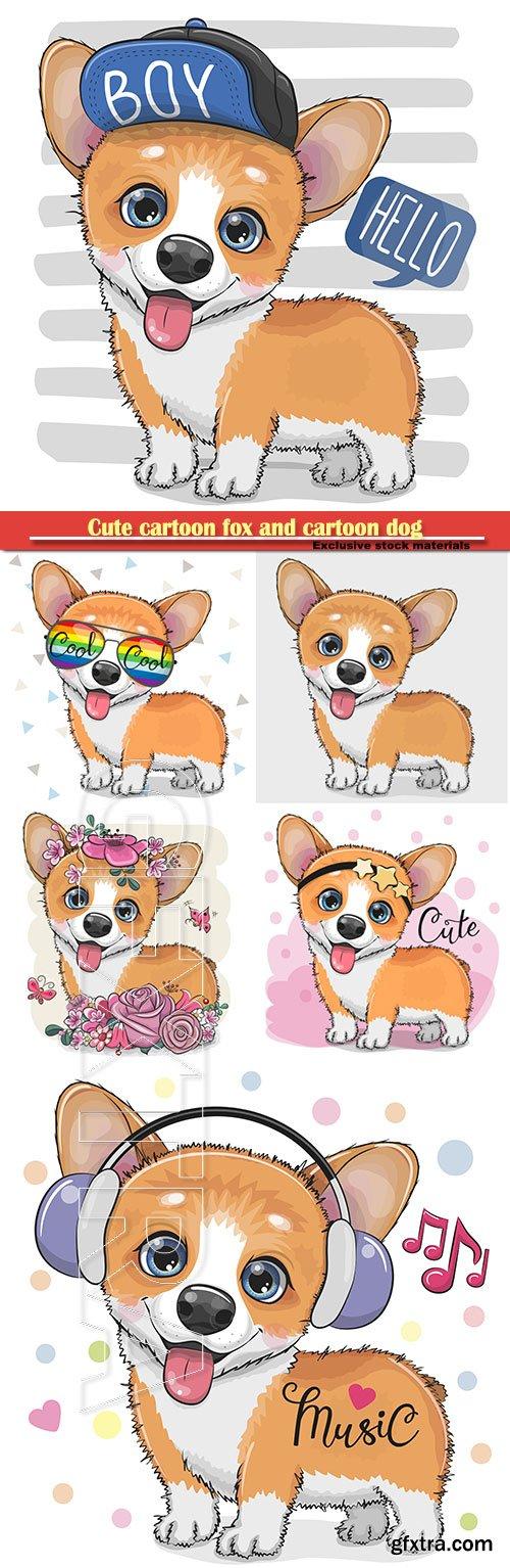 Cute cartoon fox and cartoon dog in vector illustration