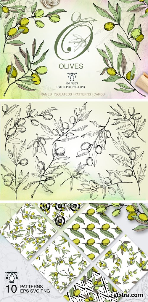 Fontbundles - Olives Vector EPS Watercolor Set 155505
