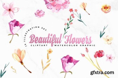 Watercolor Flowers Set Illustration