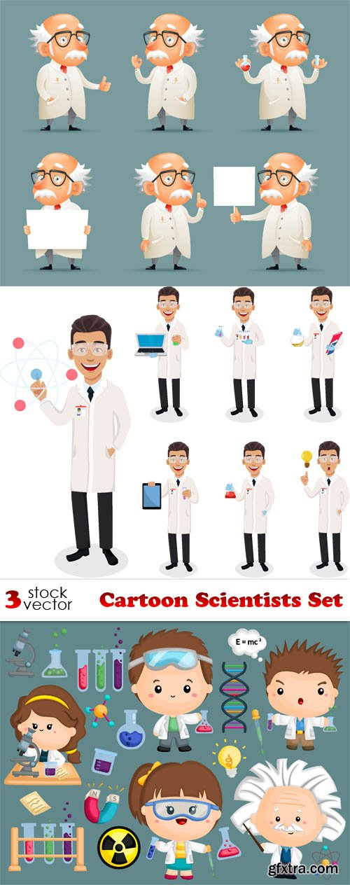 Vectors - Cartoon Scientists Set