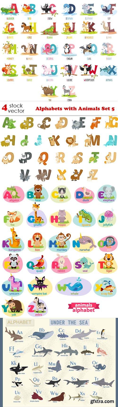 Vectors - Alphabets with Animals Set 5
