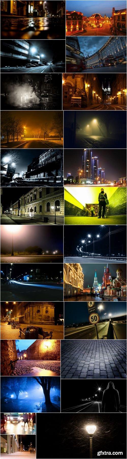 Night street lantern light area house road asphalt city 25 HQ Jpeg