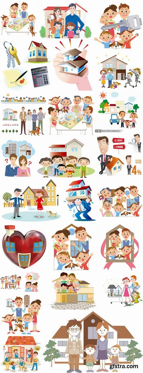 Happy family home occupier housing flats renting vector image 25 EPS