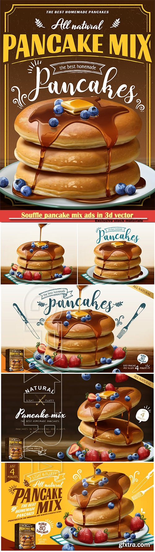 Souffle pancake mix ads in  vector illustration