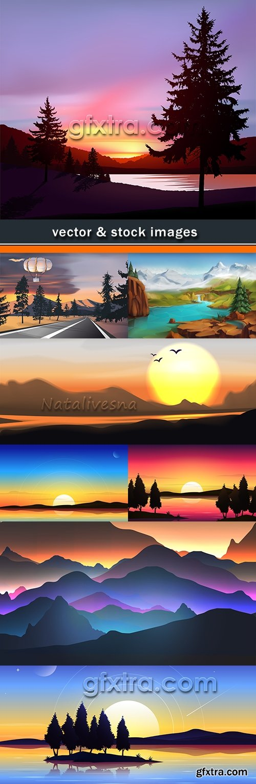 Nature beautiful landscape rising and sunset