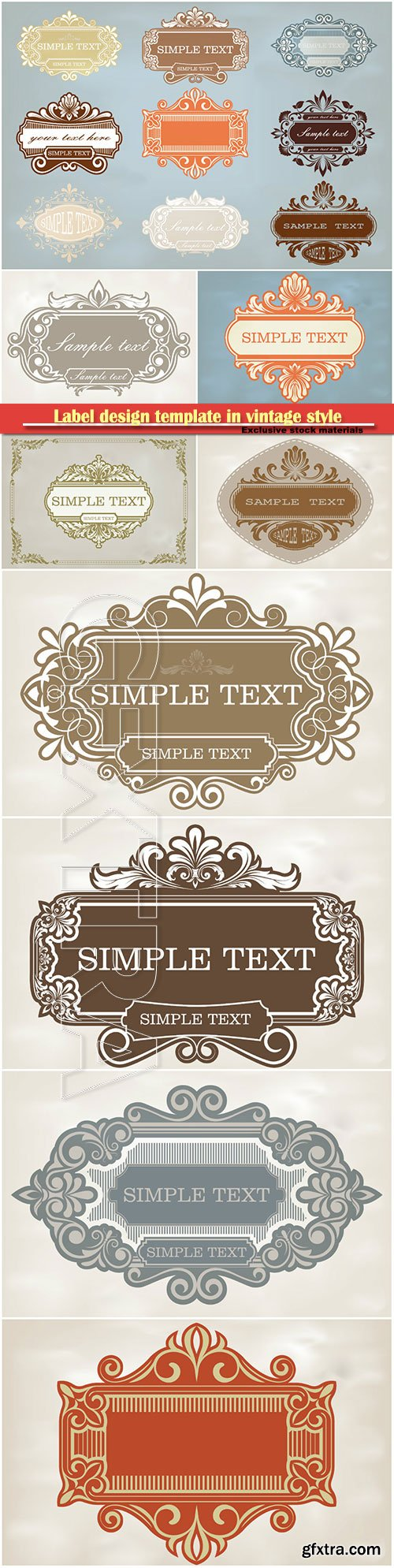 Label design template in vintage style, decorative frame, ornament vector