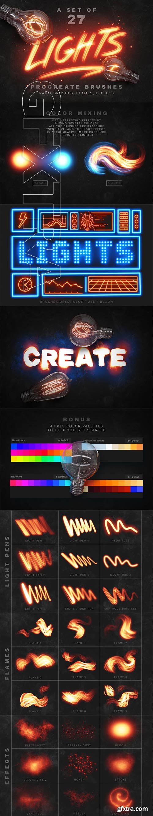 CreativeMarket - Lights Procreate Brushes 3482301